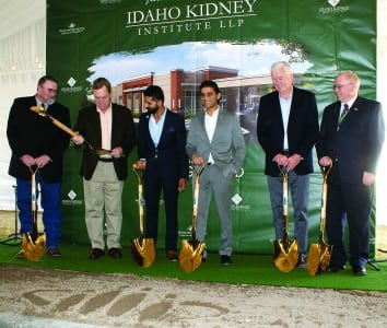 Ready to break ground for the Idaho Kidney Institute that is coming to Blackfoot. From left are Bingham County Commissioner Mark Bair, U.S. Congressman Mike Simpson, Dr. Fahim Rahim, Dr. Naeem Rahim, co-founders and managing partners of the Idaho Kidney Institute, Joe Cannon, chairman of the board of Bingham Memorial Hospital and Jeff Daniels, CEO, Bingham Memorial Hospital.